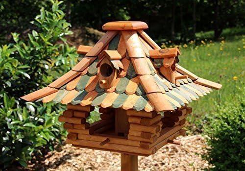 Pajarera con ripia de madera modelo 26 - Verde: Amazon.es: Jardín