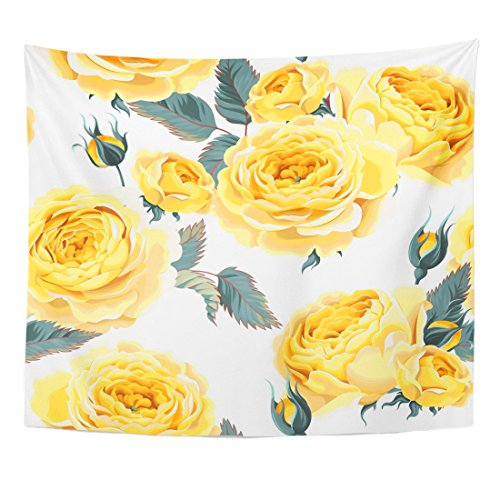 TOMPOP Tapestry Yellow Flower English Roses Pattern Vintage Wedding Antique Beauty Home Decor Wall Hanging for Living Room Bedroom Dorm 50x60 Inches ()