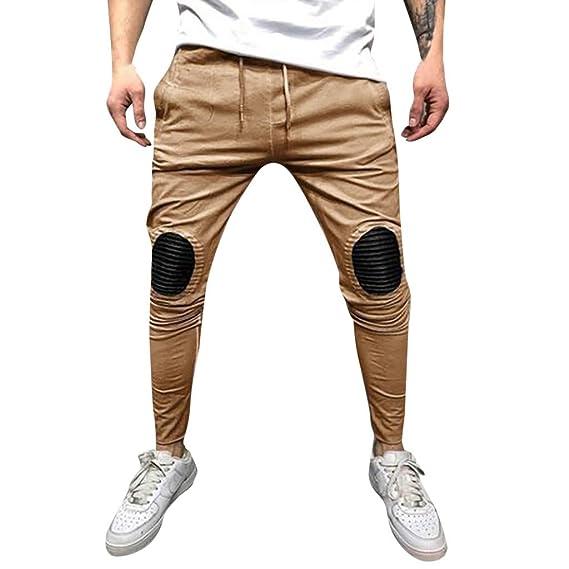 Pantalones Hombre - Marlene1988 Pantalones de Trekking elástico Táctico Pantalón termicos Camuflaje Color de Empalme Bolsillos con Cuerda Casuales ...