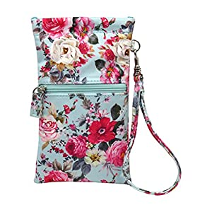 Sunglass Case Wristlet & Eyeglass Pouch with zipper pocket | Squeeze Top opening with Glasses Cleaning Cloth | A Medium To Oversized Sunglasses Case | Smart Phone Case & Makeup Pouch (Rose Bouquet)