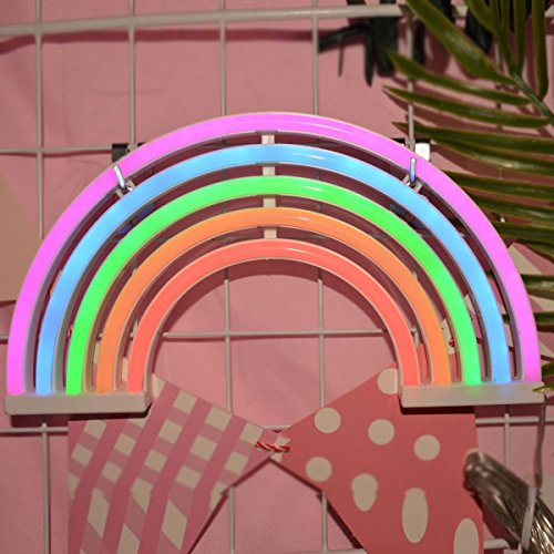 AES US Neon Signs,Rainbow Neon Light Sign Shaped Night Light Wall Decor for Chistmas,Birthday party,Kids Room, Living Room, Wedding Party Decor(Rainbow) by AES US (Image #4)'