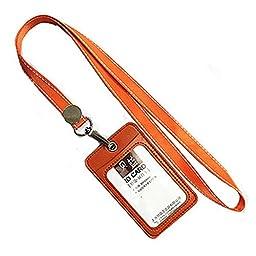 ID Card Holder Keyring Credit Card Case With 2 Card Slots, Orange