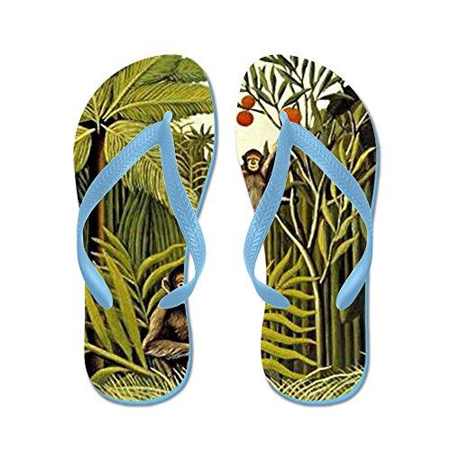 Cafepress Aporna I Djungeln, Rousseau Pai - Flip Flops, Roliga Rem Sandaler, Strand Sandaler Caribbean Blue