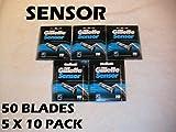 Gillette Sensor - 50 Blades (5 x 10 or 10 x 5 Packs)