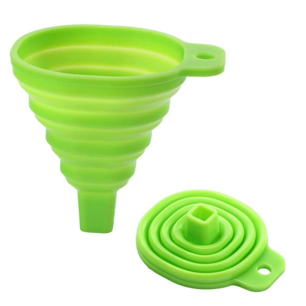 WESEEDOO Funnel Silicone Adjustable Collapsible Retractable Funnel Green