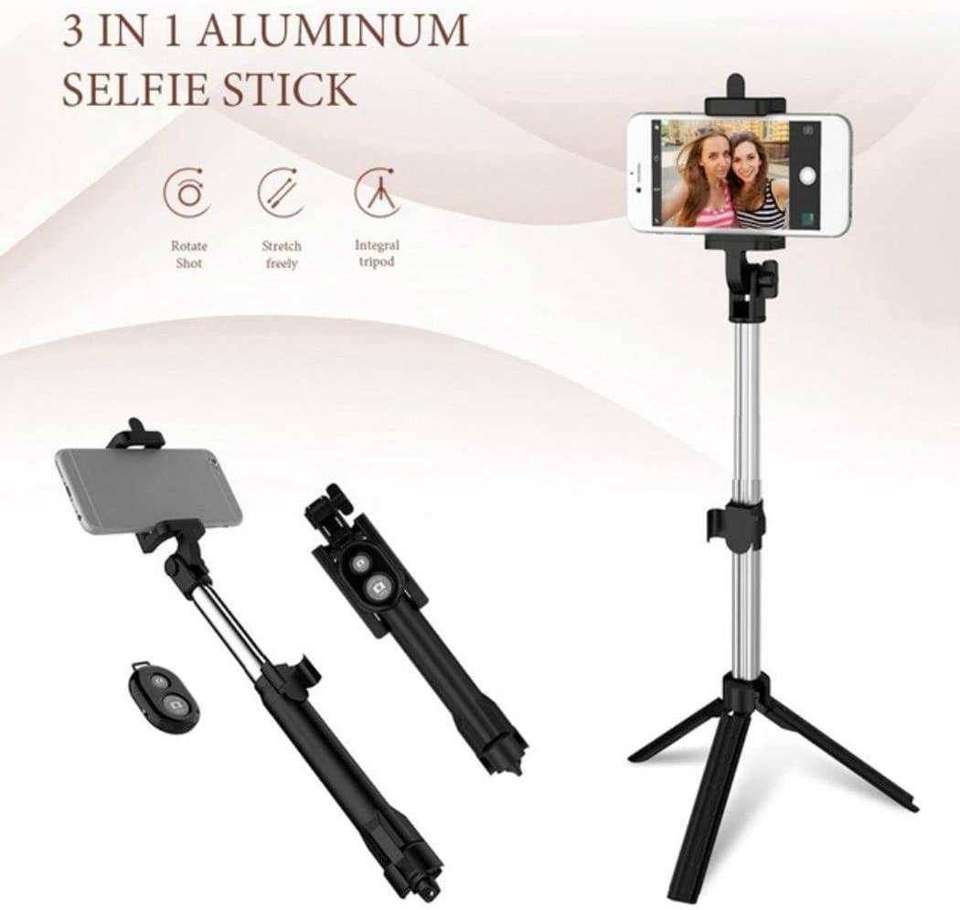 Gonikm Wireless Bluetooth Selfie Stick Handheld Foldable Monopod Mini Tripod Clip Holder Monopods