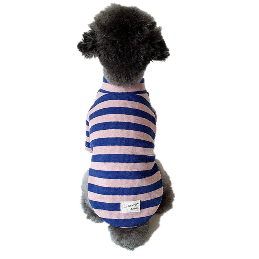 bluee Medium bluee Medium Stripe Pet Cotton Clothes,Dogs Cats Coats,Autumn Winter Warm Cozy Sweater for Puppy Kitten 5 Size,bluee,M