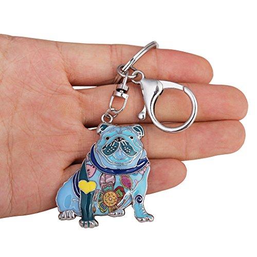 Luckeyui Unique English Bulldog Gifts Keychain for Women Girls Cute Blue Enamel Animal Keyring by Luckeyui (Image #3)