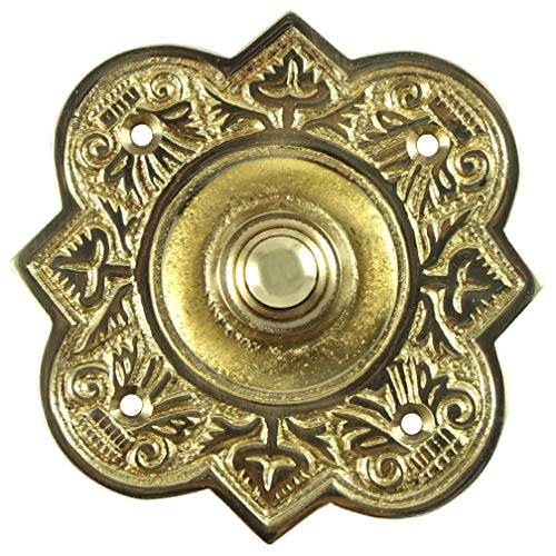 Adonai Hardware Parshandatha Decorative Brass Bell Push or Door Bell or Push Button -Polish Lacquered