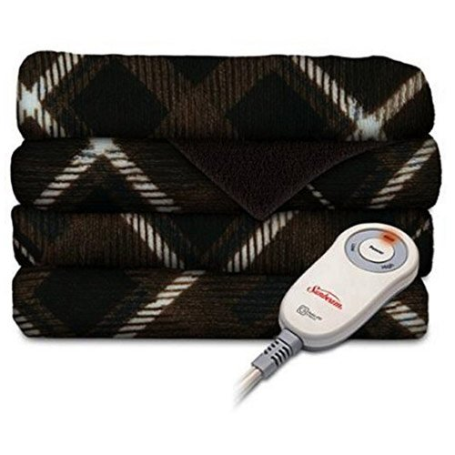 Sunbeam Microplush Electric Heated Throw Blanket Sebastian Plaid Brown COMIN18JU047404