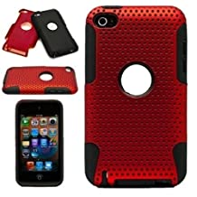 Generic Protective Dual Hard Case and Soft Silicone Skin for Apple iPod Touch 4th Generation (Metallic Red)