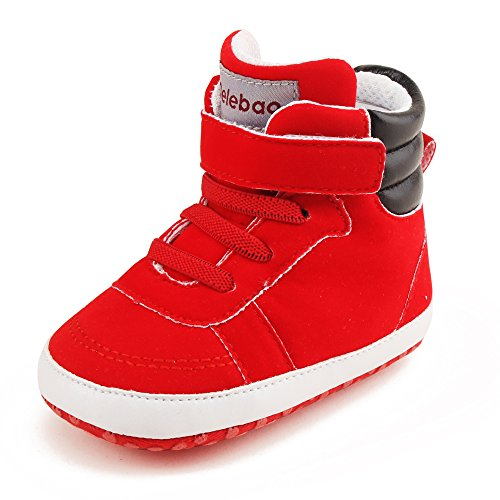 Delebao Infant Toddler Baby Lace Up Soft Sole High-top Suede Warm Sneakers Snow Boots (0-6 Months, Red)