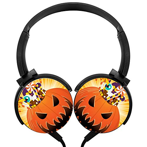 Halloween Pumpkin Party Wired Headphones Headsets Customized Foldable