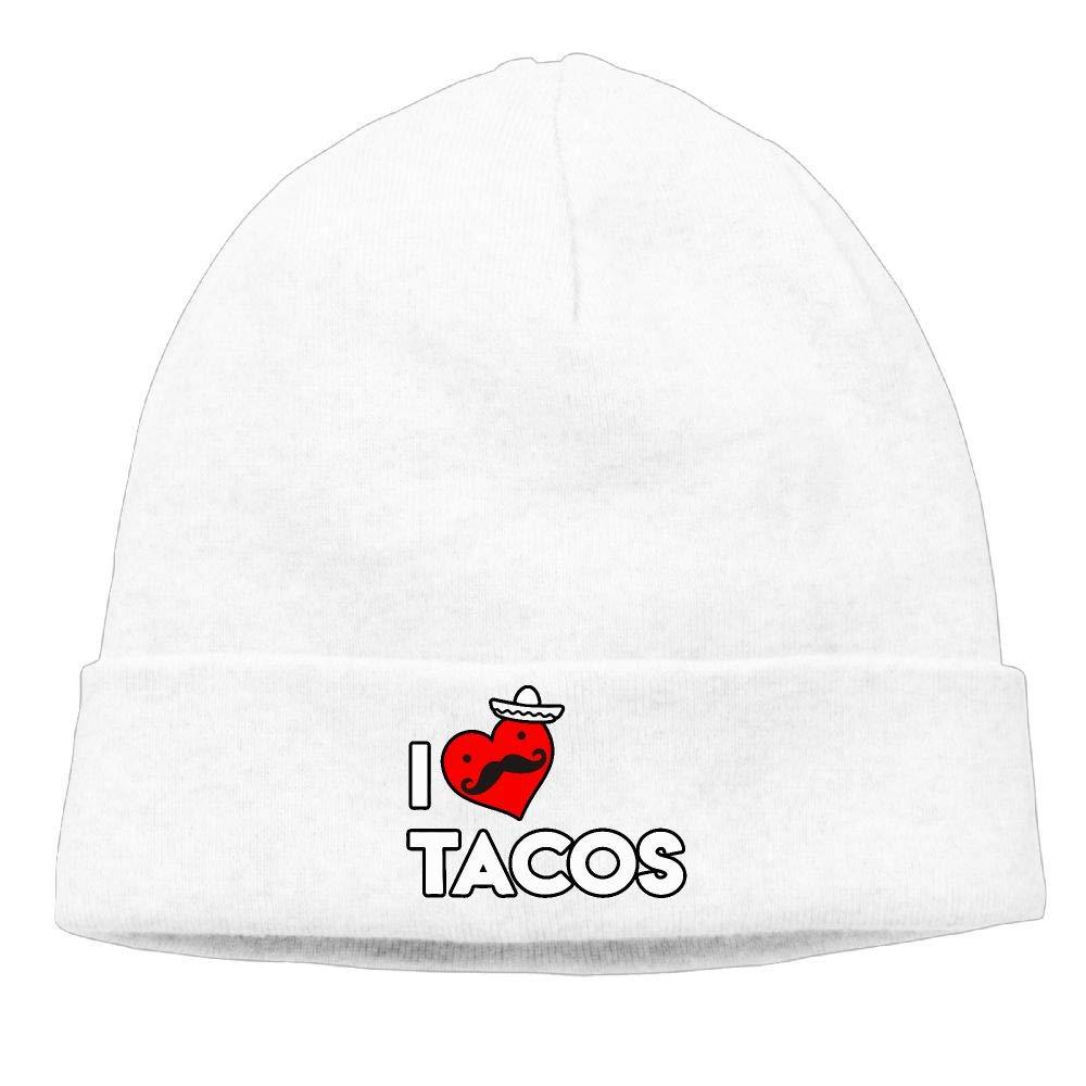 I Love Tacos Women and Men Beanie Cap Knit Warm Fleece Lined Skull Cap