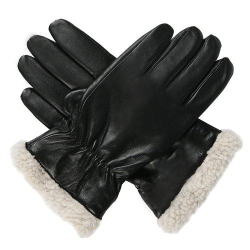 Luxury Lane Men's Pilot Microfleece Lined Lambskin Leather Gloves - Black Medium (Glove Leather Racer)