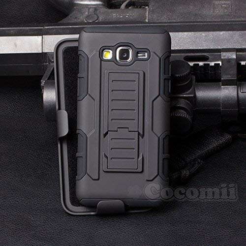 Cocomii Robot Armor Galaxy Grand Prime Case New [Heavy Duty] Premium Belt Clip Holster Kickstand Shockproof Bumper [Military Defender] Full Body Rugged Cover for Samsung Galaxy Grand Prime (R.Black) (Best Phone Case For Galaxy Grand Prime)