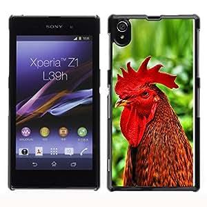 Be Good Phone Accessory // Dura Cáscara cubierta Protectora Caso Carcasa Funda de Protección para Sony Xperia Z1 L39 C6902 C6903 C6906 C6916 C6943 // Cool Funny Rooster Cock