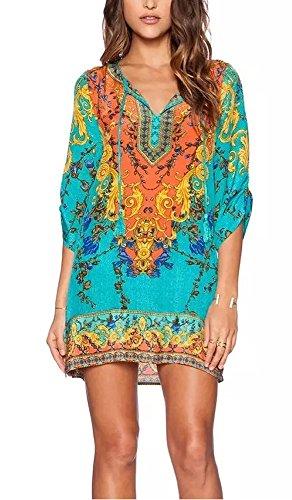 StellarChic Women Bohemian Neck Tie Vintage Printed Beach Summer Shift Dress (L, Caribbean Breeze)