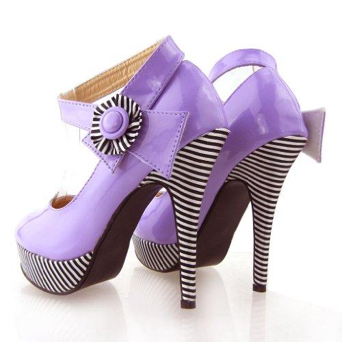 Mostrar historia flor Sexy tobillo correa raya estilete bombas zapatos de plataforma, LF30404 Morado - violeta