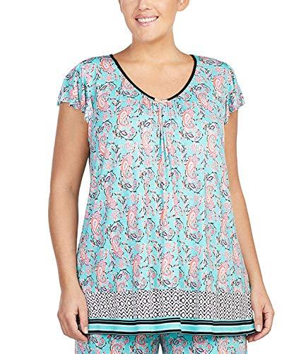 Ellen Tracy Women's Plus Size Flutter Sleeve Top, Painterly Paisley, 2X (Sleeve Flutter Plus Tops)