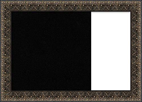 Framed Dry Erase and Cork Board Combo | Bulletin Boards and Cork Boards | Multifunctional Combo Boards | Intaglio Embossed Black Frame | 31.62 x 22.62