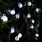 Patio Lawn Garden Best Deals - Xcellent Global 20 LED Crystal Ball Fairy White String Lights Solar Powered String Lights Tree Ornament Outdoor Decorative Lights for Christmas Wedding Party Garden Lawn Patio Decoration, Waterproof with 2 Modes (Steady and Flashing) LD049
