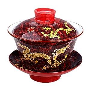 Moyishi Chinese Porcelain Gaiwan Nice Red Dragon Tradition Sancai Tea Cup Tea Set Best Gift