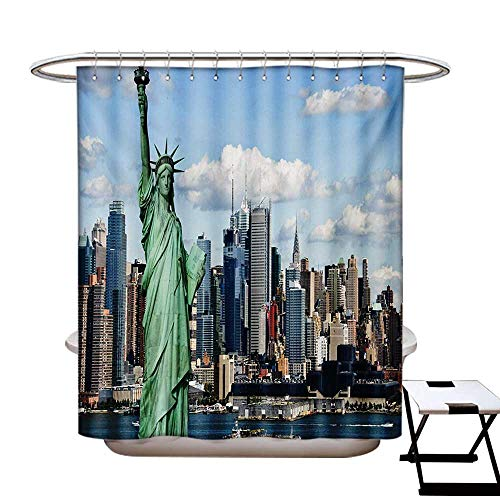 BlountDecor New York Shower Curtain Collection by Statue of Liberty in NYC Harbor Urban City Print Famous Cultural Landmark Picture Patterned Shower Curtain W36 x L72 Mint ()