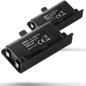 Fosmon Xbox One Controller 1000mAh (2 Pack) Rechargeable Battery Pack Only - Pair with Fosmon Xbox One Charging Dock Station (C-10659 / C-10709) - Standard and Elite Compatible