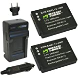 Wasabi Power Battery (2-Pack) and Charger for Nikon EN-EL12 and Nikon Coolpix AW100, AW100s, AW110, AW110s, P300, P310, P330, S31, S70, S610, S620, S630, S640, S800c, S1000pj, S1100pj, S1200pj, S6000, S6100, S6150, S6200, S6300, S8000, S8100, S8200, S9050, S9100, S9200, S9300, S9400, S9500
