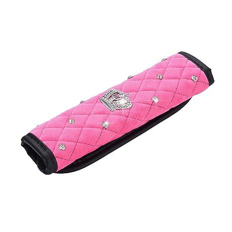 Backpack Shoulder Bag Elecrelive 2Pcs Pink Soft Plush Car Seat Belt Cover Pads Bling Rhinestones Crown Seatbelt Shoulder Pad,Suitable for Car Seat Belt