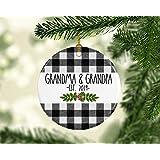 Grandma and Grandpa Pregnancy Announcement Christmas Ornament, Grandparent Baby Reveal to Parents, Est 2019 Ornament for Grandparents to Be Ceramic Ornament