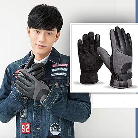 ZHOU XUE LI Mens Winter Touch Screen Plus Velvet Warm Non-Slip Sports Riding Leather Gloves Windproof