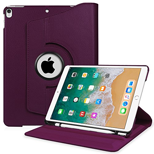 Fintie iPad Pro 10.5 Case Built-in Apple Pencil Holder - 360 Degree Rotating Stand Protective Cover Auto Sleep/Wake Feature Apple iPad Pro 10.5 inch 2017 Release, Purple