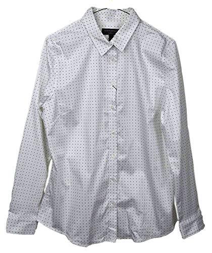 Banana Republic Womens Tailored Non-Iron Long Sleeve Dot Print White Shirt (14) Banana Republic Long Sleeve Shirt