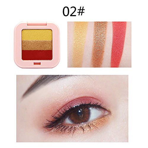 RedBrowm 3 Colors Mixed Pearlescent Matte Eyeshadow Eye Shadow Make Up Textured Pallette