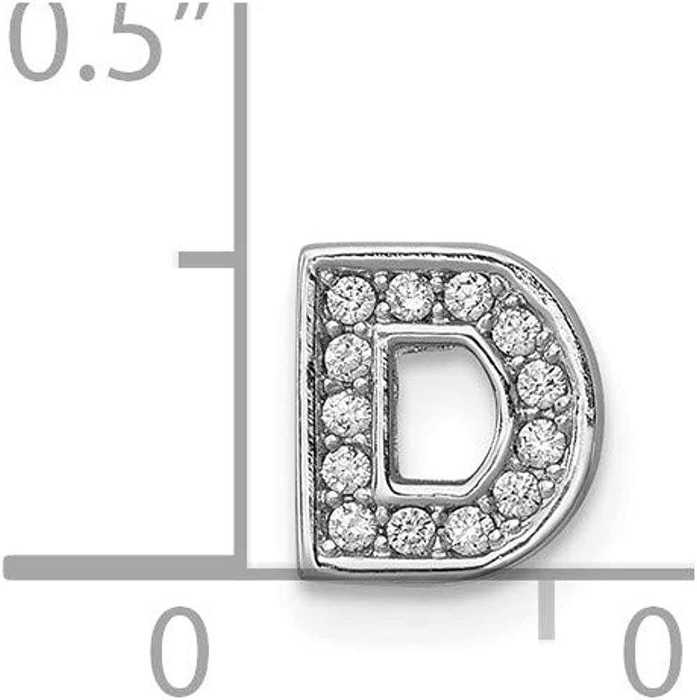 Solid 925 Sterling Silver CZ Cubic Zirconia Letter D Slide Charm Pendant
