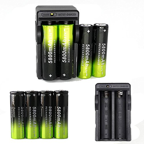 8 pcs 18650 5800mAh Li-ion 3.7V Rechargeable Battery + 2 pcs Dual Smart 18650 Battery Charger (NOT AA or AAA Battery)
