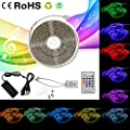 LED Strip Lights Sync to Music, 32.8ft/ 10m RGB Color Changing Rope Light, SMD 5050 Waterproof Music String Lighting Kit with 24-Key IR Remote Controller for Home Bar Decor