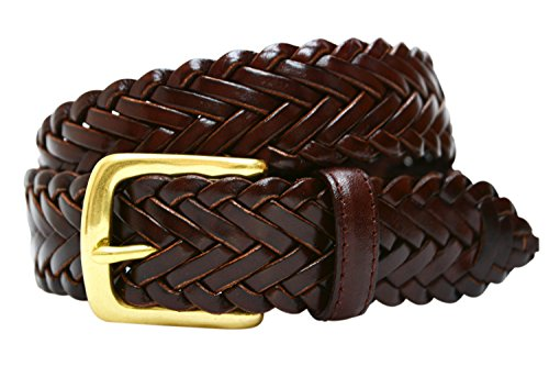 796 Toneka Men's Woven Navy Grey Cowhide Full grain Braided Leather Dress Belt (44, Dark ()