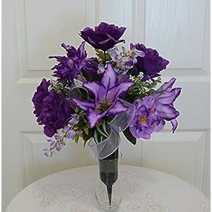 Purple Cemetery Arrangement, Purple Rose Cemetery Vase, Cemetery Flowers in Vase 37