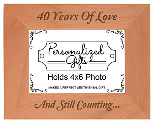 40th Anniversary Gifts 40 Years and Counting Natural Wood Engraved 4x6 Landscape Picture Frame Wood (Anniversary Gifts For 40 Years)