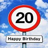 Twizler 20th Birthday Card - Roadsign - 20 Year Old – Age 20 Birthday Card