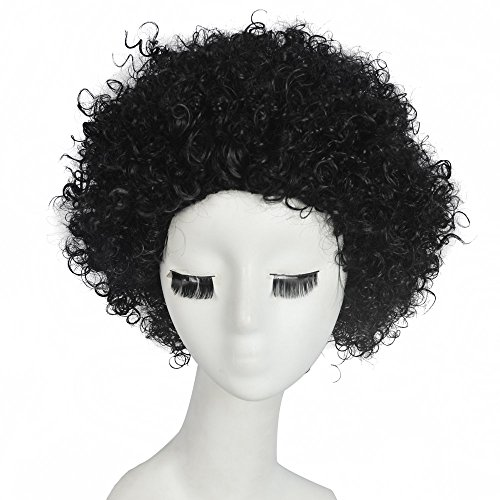 [SiYi Fashion wig Charm Women's short Black Curly Natural Hair Classic wigs] (Homemade Gothic Costumes For Women)