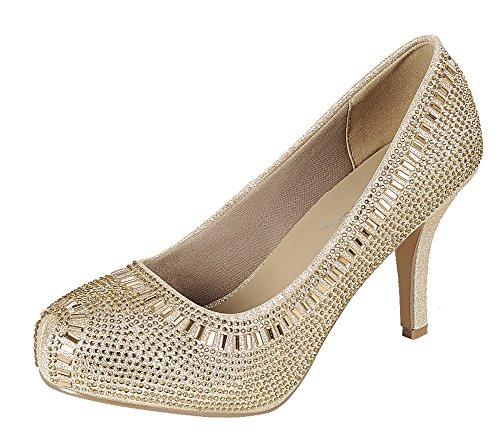 Cambridge Select Women's Crystal Glitter Closed Toe High Heel Dress Pump (10 B(M) US, (Gold Women Pump)