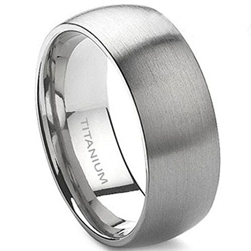 Men 8mm Solid Titanium Ring Brushed Matte Size 7 -15 Wedding Band Anniversary