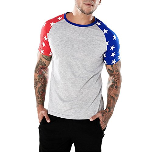 BYEEE Men's Graphic T-Shirt,Men's Americana Collection Adult USA Flag Graphic Tee T-Shirt Casual BlouseGray, (Black Collection Under Armour)