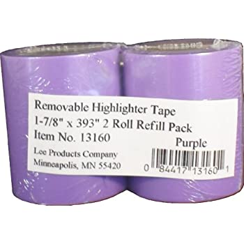 "Lee Removable Highlighter Tape, 1-7/8"" Wide x 393"" Long, 2-Roll Refill Pack, Purple (13160)"