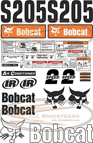 Complete S205 Decal Sticker Kit 30pcs (New Style) for Bobcat Skid Steers | Replaces OEM Model # ()