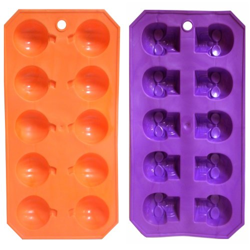 Skeleton Skull & Pumpkin Halloween Plastic Ice Cube Trays Jello Mold - Set of 2 -
